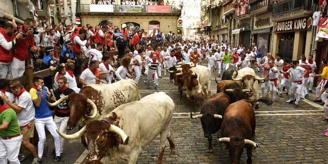 Revellers run next to fighting bulls from Cebada Gago ranch, during the running of the bulls at the San Fermin Festival, in Pamplona, northern Spain, Monday, July 8, 2019.(AP Photo/Alvaro Barrientos)