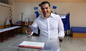 The Greek prime minister and Syriza party leader, Alexis Tsipras, casts his vote in Athens