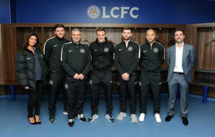 Players for Leicester City including Jamie Vardy, as well as his agent John Morris