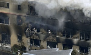 Firefighters at the Kyoto Animation building in Kyoto.