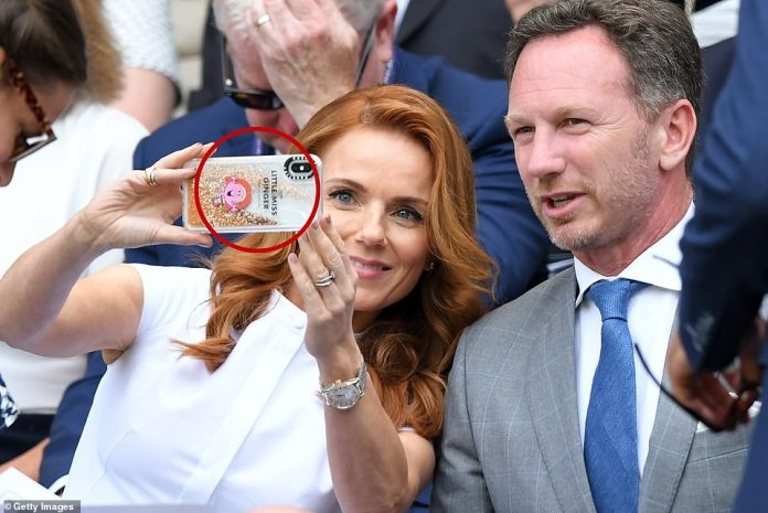 Wimbledon 2019: Geri Horner stunned in a chic white dress as she joined husband Christian in the Royal Box (where they took a selfie with her Ginger Spice-themed phone) for star-studded day five on Friday