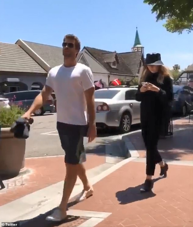 End of the road: While the pair didn't confirm their break-up until this month, it's believed they actually called it quits in several months ago. The last known footage of them together was from July 9 (above), but they looked decidedly unhappy