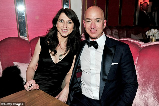 It's over! Jeff and his ex-wife MacKenzie Bezos (left) finalised the terms of their divorce in April 4. The following day Lauren filed for divorce from Patrick. Jeff and MacKenzie are pictured in West Hollywood on February 26, 2017