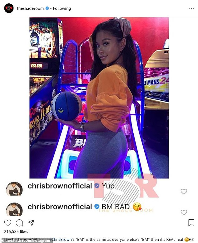 Baby mama: Although news of the pregnancy with Harris first broke in June, fans caught on as early as May when Brown took to Instagram, commenting on a photo of Harris in an arcade: 'BM BAD' - BM being code for 'baby mama'