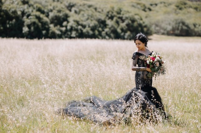 Amy Vosinthavong in a black wedding dress