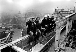 Celebratory pint of beer by the men who topped out the new St Mary's hospital, Hathersage Road, Manchester, 1968