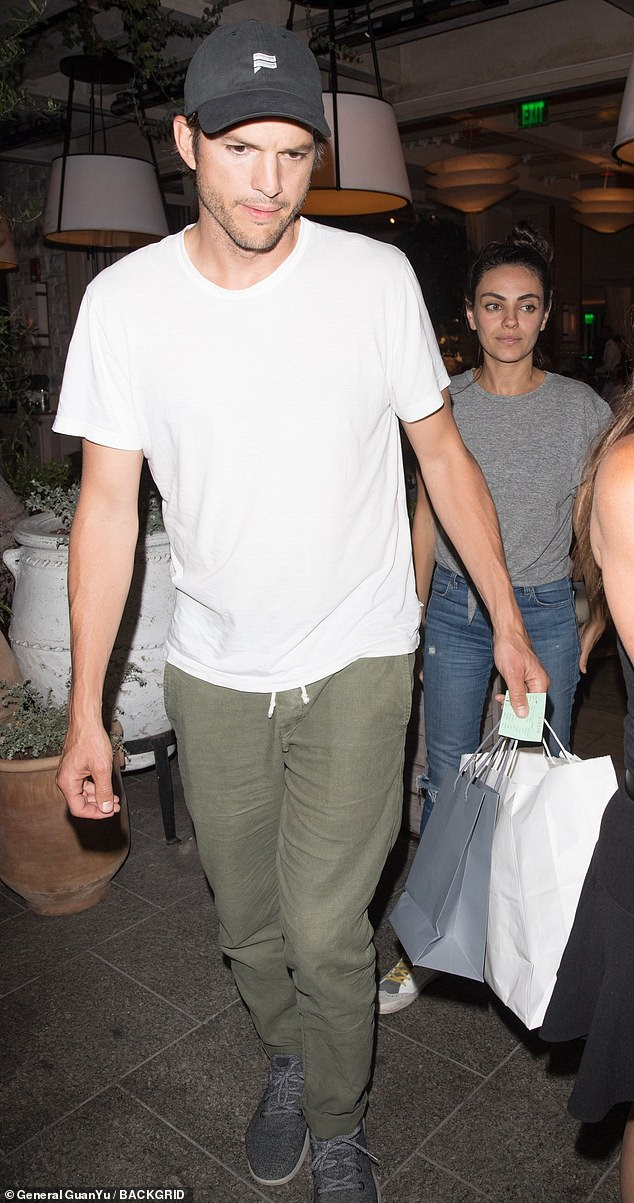 Dinner date: Ashton Kutcher and Mila Kunis enjoyed a night out together at a restaurant in Beverly Hills on Wednesday