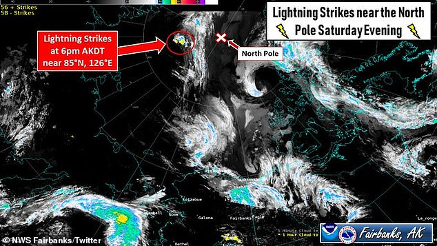 Nearly 50 lightning strikes have been recorded just 300 miles from the North Pole in an extremely rare weather event.