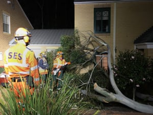 NSW SES volunteers responding to a request for assistance at south Coogee in Sydney at midnight on Friday night.