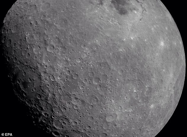 A stunning image of the moon (pictured) was taken by India's ground-breaking Chandrayaan-2 spacecraft from lunar orbit last week. It includes includes a look at the Apollo crater and the Mare Orientalis