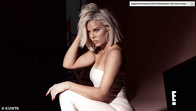 Real talk: Khloe is seen posing up a storm in a photoshoot while rocking a nude jumpsuit, large gold hoop earrings and short blonde tresses