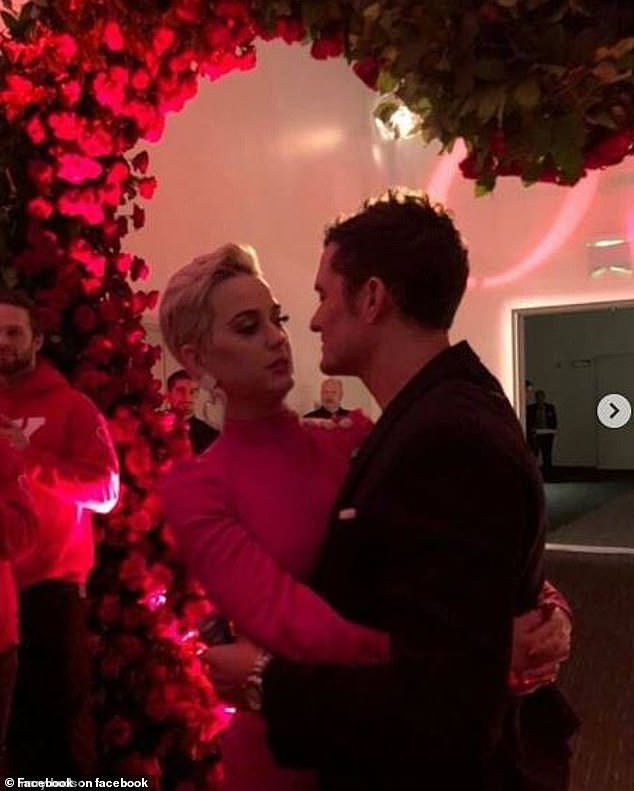 Romantic: While the couple did not fully confirm their engagement at the time, Katy's mother posted snaps to Facebook from what she described as their 'engagement party.'