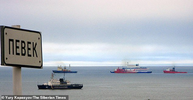 The Lomonosov can be seen here arriving into calm waters at Pevek where it will moor to provide power to the region and to oil platforms in the Chukotka region