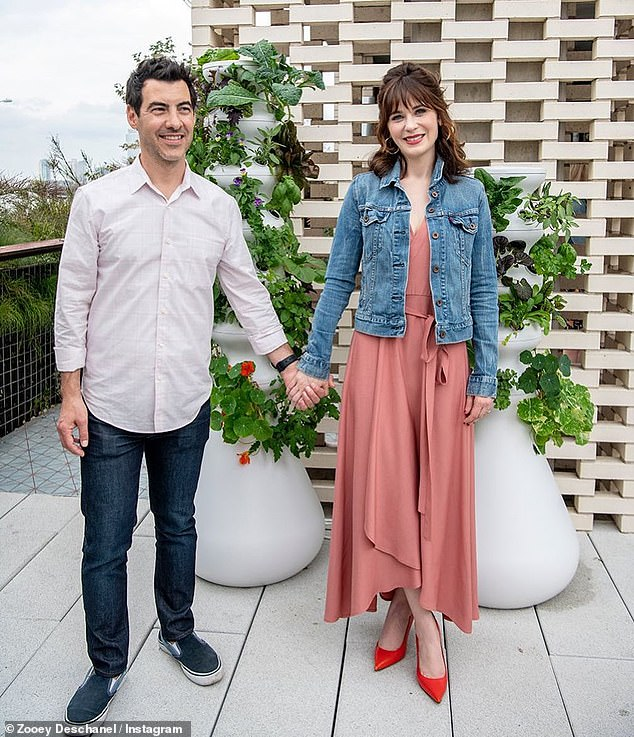 'Everything is amicable': On September 6, Zooey announced she separated from her second husband Jacob Pechenik (L) 'several months ago' and June 21 would have marked their fourth wedding anniversary (pictured April 14)