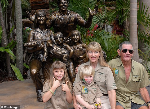 Estranged: After stepping away from Australia Zoo, Bob quickly lost contact with his grandchildren. Pictured L-R: Steve's children Bindi and Robert Irwin, wife Terri and father Bob in 2007