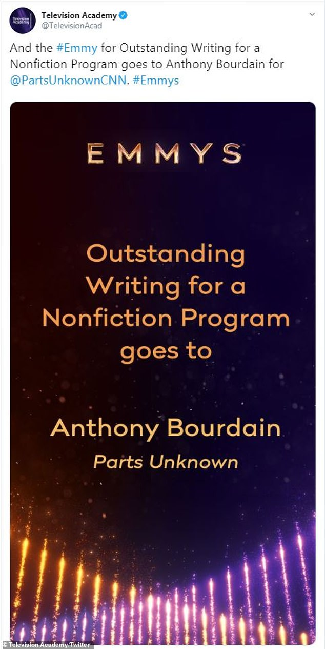 Big win: At the Creative Arts Emmy Awards ceremony on Saturday night, Parts Unknown won for Outstanding Informational Series and Outstanding Writing For a Nonfiction Program