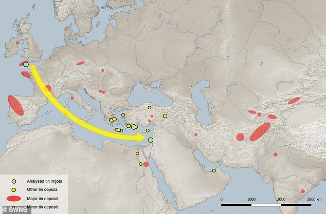 A map of the Eurasian continent, which shows the significantly low dispersal of tin deposits in the area the ingots were found in