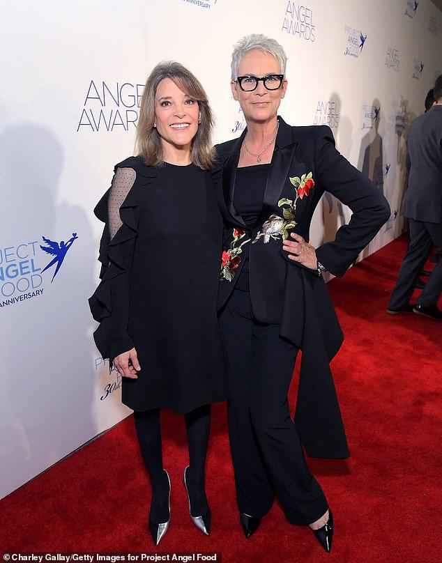 Hey girl! Jamie Lee Curtis (R) suited up alongside Marianne Williamson (L)