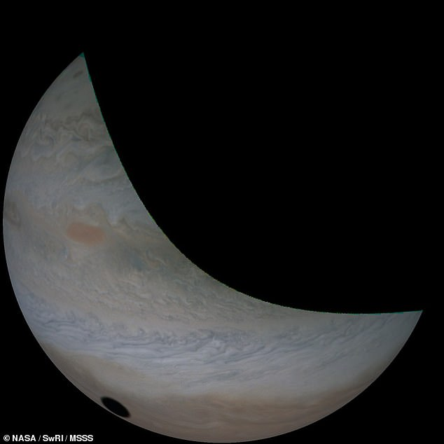 The shadow cast by Io on Jupiter is much more sharply-defined that that left by the moon on the Earth during a solar eclipse