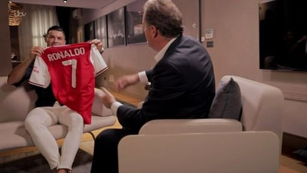 At the end of the interview, Piers also gave Ronaldo a personalised Arsenal shirt, quizzing him on how close he came to signing for the London club in the past