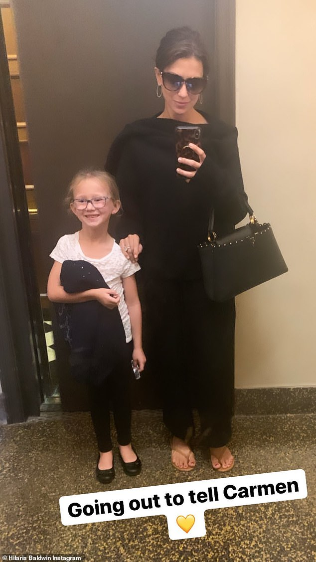Sharing news: She shared a snap chat of going to lunch with her daughter Carmen to share the news