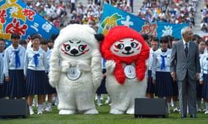 Rugby World Cup Japan mascots Ren-G at the Kamaishi Restoration Stadium