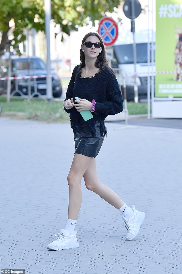 Glam:Vittoria Ceretti opted for trainers for the glam bash