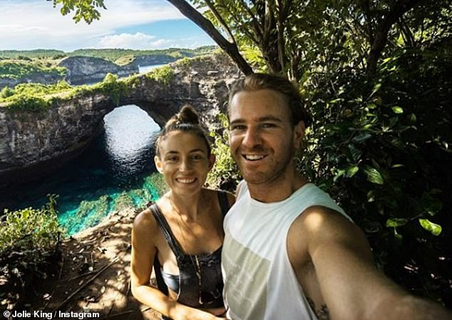 British-Australian Jolie King and her Australian boyfriend Mark Firkin were arrested in Iran in July while undertaking a round-the-world trip they were documenting online (pictured in April 2018 at Pasih Uug Beach in Indonesia)