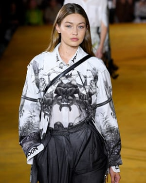 Gigi Hadid on the catwalk Burberry show during London fashion week.