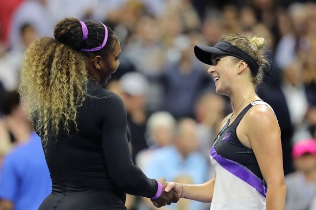 Serena Williams shakes hands with Elina Svitolina following their US Open clash