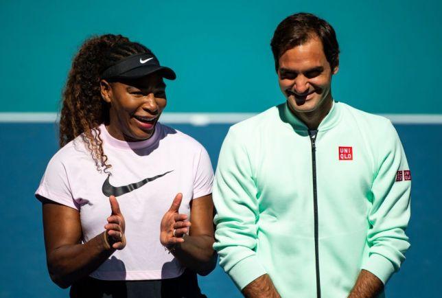 Serena Williams stands alongside Roger Federer