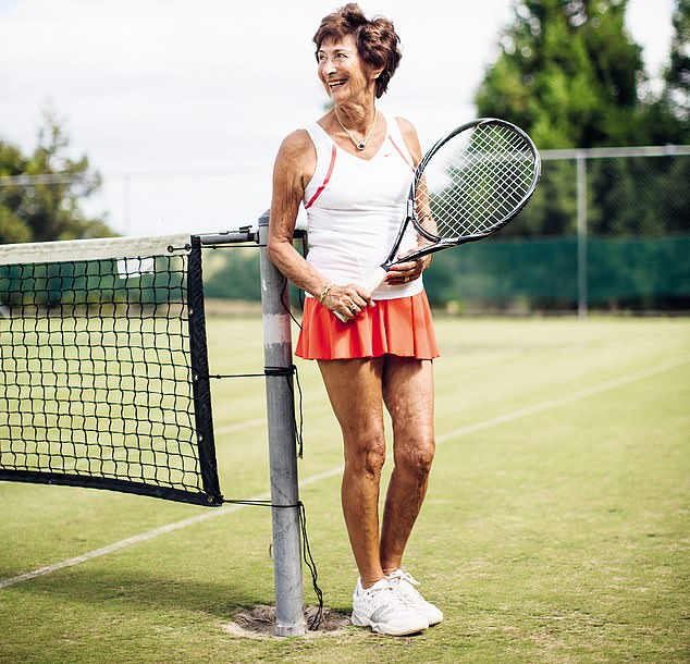 Muffie Grieve, 87, from Ontario, Canada, has been playing tennis for more than 70 years and says she 'doesn't consider her age a factor at all'