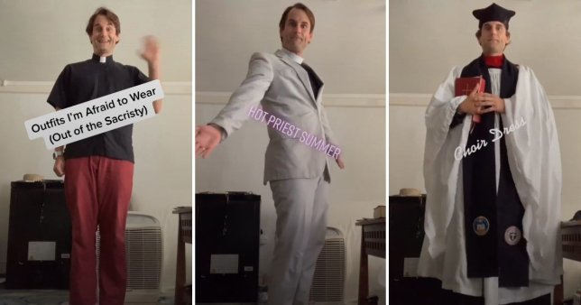 This priest in a funny Tik Tok video trying on church vestments