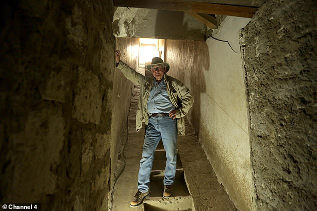 The American archaeologist pictured inside the black pyramid. It contained three chambers, for the Pharoah and his two wives, it was also raided.