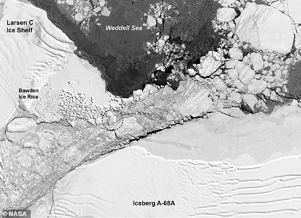 An area of geometric ice rubble is visible in the Landsat 8 image  from October 14, 2018, two days before the IceBridge flight.A-68 has repeatedly smashed against the rise and caused pieces of ice to splinter into clean-cut geometric shapes.The once-long rectangle berg did not make it through unscathed; it broke into smaller bits. The iceberg in Harbeck's photograph, circled in the annotated Landsat 8 satellite image, appears closer to the shape of a trapezoid. The trapezoidal berg is about 900 meters wide and 1500 meters long, which is tiny compared to the Delaware-sized A-68.