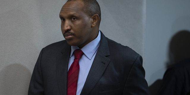 Congolese militia commander Bosco Ntaganda enters the courtroom of the International Criminal Court, or ICC, to hear the sentence in his trial in The Hague, Netherlands, Thursday, Nov. 7, 2019. (AP Photo/Peter Dejong, Pool)