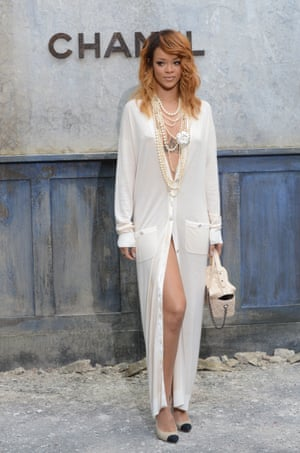 Rihanna attends the Chanel show as part of Paris Fashion Week, 2013