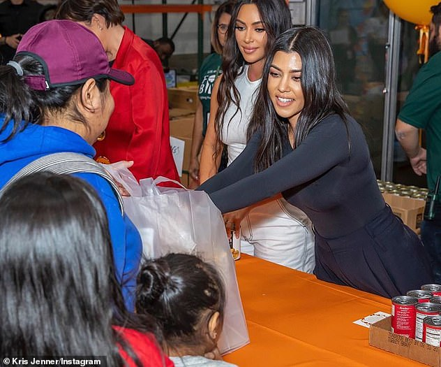 Charity: On Saturday, Kourtney joined Momager Kris Jenner, 64, and sister Kim Kardashian, 39, on a trip to the Los Angeles Regional Food Bank Saturday where they helped hand out food