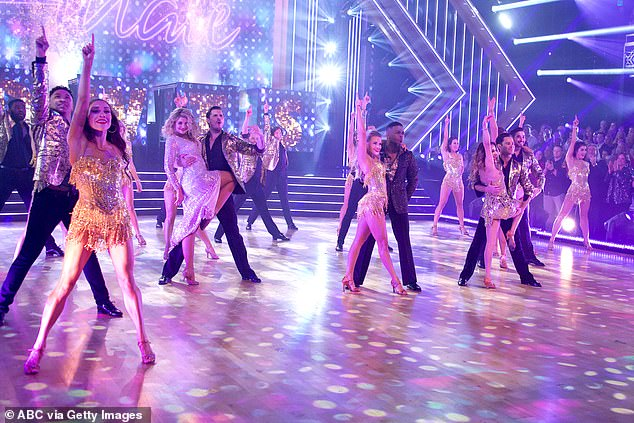 Group dance: The entire 2019 DWTS cast joined in a group dance