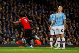 Martial scores United's second goal.