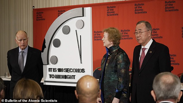 Former California Governor Jerry Brown, Former President of Ireland Mary Robinson, and Former United Nations Secretary General Bai Ki-Moon unveiled the new time. It has moved to 100 seconds to midnight due to the worsening nuclear threat, lack of climate action and a rise of cyber-enabled disinformation campaigns are moving the clock hand forward