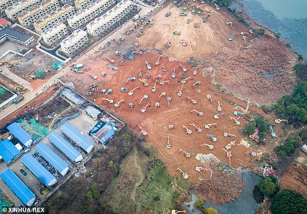 Wuhan, which is ravaged by a deadly new virus, has vowed to build a special, 1,000-bed hospital in less than a week to fight an outbreak that has left at least 130 people dead in the country. In the picture above, mechanical equipment are seen working on the construction site of the coronavirus hospital in the Caidian District in Wuhan, China, on January 24