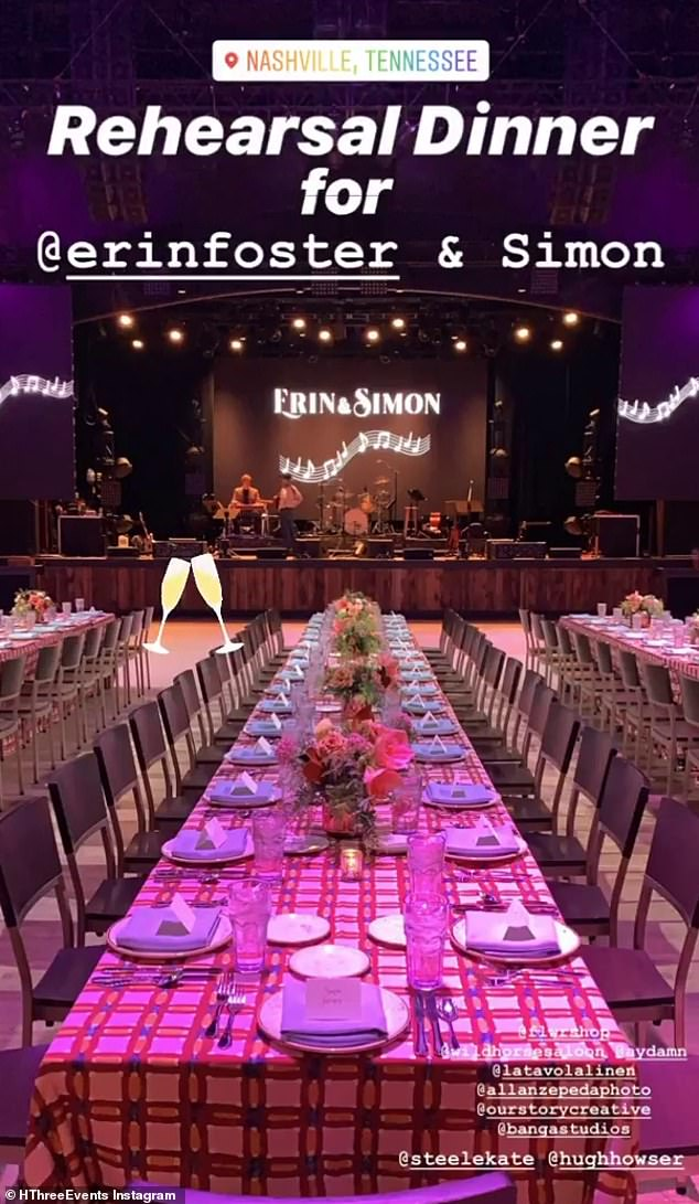 The rehearsal: One guest shared this photo of the lavish set up with rows of tables and a stage for the live band during the rehearsal dinner
