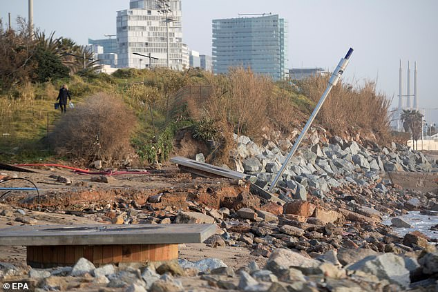 View of Mar Bella's beach after the storm Gloria that has left more than 12millon euros worth of damage in Barcelona