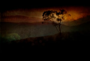Overlay of images from the Blue Mountains overlooking Bathurst, NSW, Australia