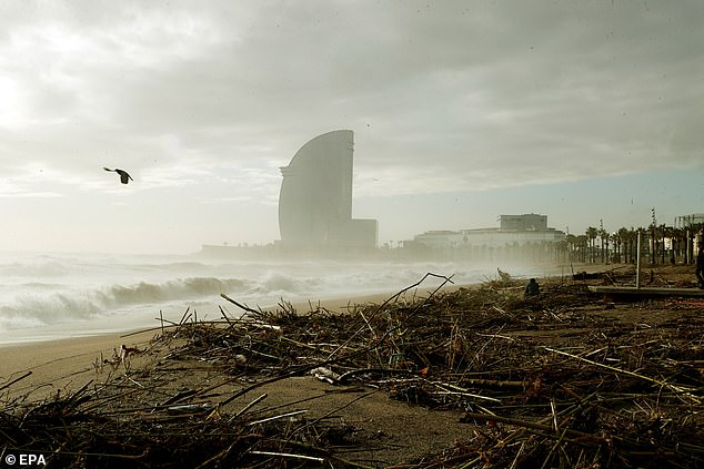 View of the damages at Barceloneta beach in Barcelona, Spain