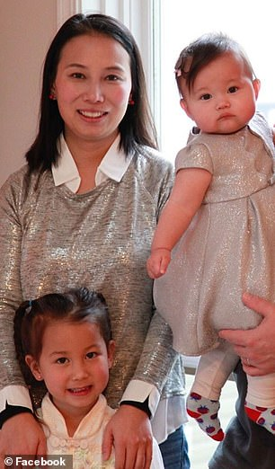 Daisy (top left) arrived with daughters Adalynn, five (bottom left) and baby Abigail, 10 months (right) last week to spend Lunar New Year with family. Shortly after they got to Wuhan, the city was shutdown in an effort to contain the outbrak