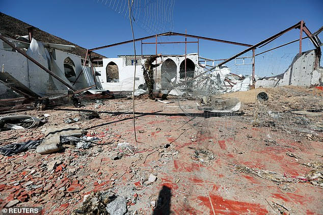 The ruins of the desecrated mosque after the Houthi missile strike which killed more than a hundred military personnel on Saturday night