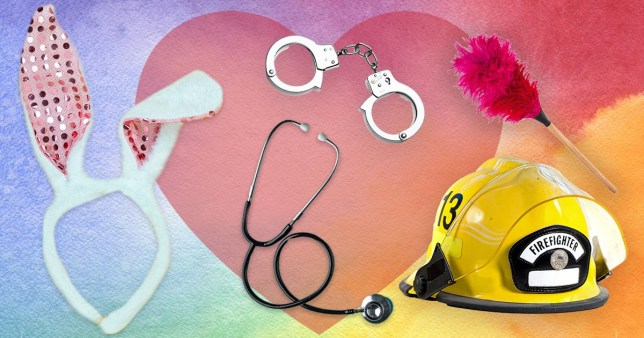 Bunny ears, a stethoscope, handcuffs, a fire fighter hat and a duster on a colourful background
