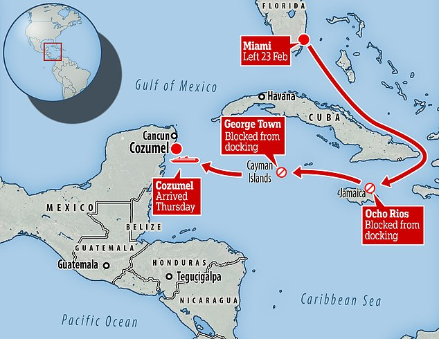 The ship was previously blocked from docking in Ocho Rios, Jamaica, and George Town, Cayman Islands, before going to Cozumel where it arrived Thursday